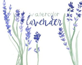 Watercolor Floral Lavender Clipart INSTANT download Digital Clip Art Purple Flower Clipart Lavender Floral Watercolors Commercial Use