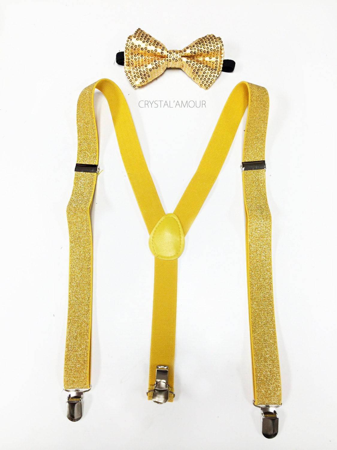 gold sequin bowtie and suspenders yellow glitter by