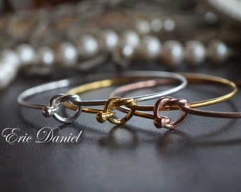 Sterling Silver Love Knot Bangle, Available in Silver, Yellow Gold & Rose Gold, Love Knot Bracelet,  Loveknot, Gold Loveknot