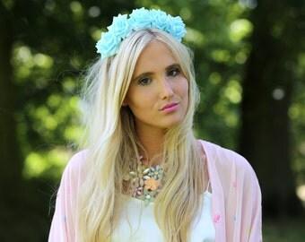 Blue Rose Flower Crown, Blue Rose Headband, Blue Flower Crown, Flower Crown, Rose Crown, Flower headband, Festival Crown