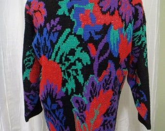 Vintage 80s-90s Sweater, Women's (Size: Medium/Large?), Jungle Look, Pull-over, Retro Jungle, Cosby, Black Acrylic, USA