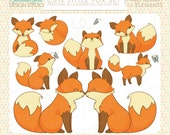 Cute Little Fox Clip Art Set - Personal & Commercial Use