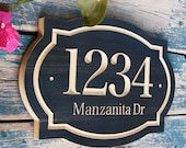 """15""""x10"""" Classic House Number Engraved Plaque, Housewarming Gift, Realtor Closing Gift, Address Sign, House Number, Number Plaque"""