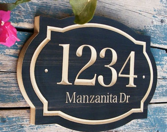 "15""x10"" Classic House Number Engraved Plaque, Housewarming Gift, Realtor Closing Gift, Address Sign, House Number, Number Plaque"