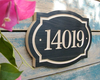 """11"""" x 8"""" Classic House Number Engraved Plaque (numbers only)"""