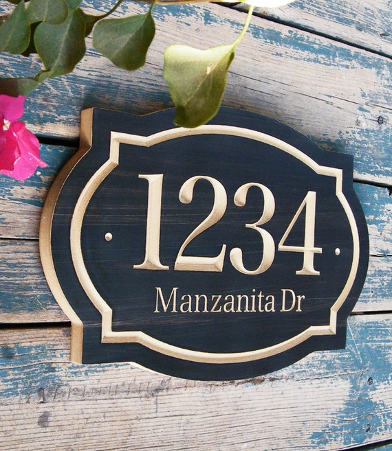 Wood Designers: Classic House Number Engraved Plaque
