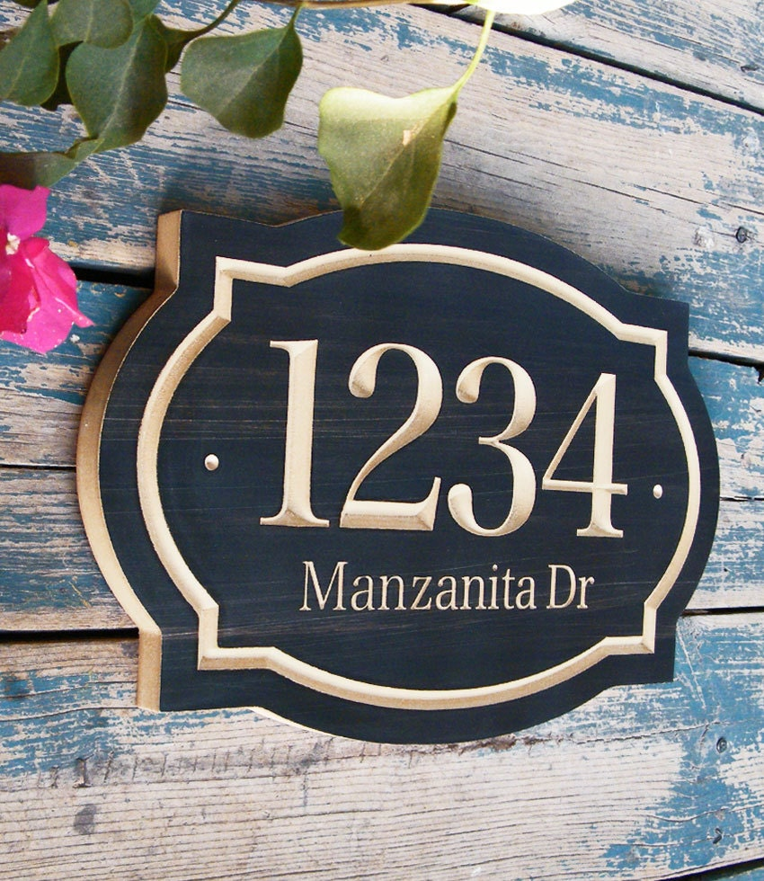 15x10 classic house number engraved plaque for Classic house numbers