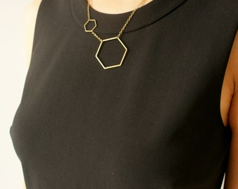 Hexagon statement necklace, honeycomb necklace, hexagon molecular necklace, gift for chemist gift for her