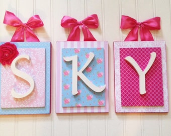 Nursery letters,Cottage Rose Nursery,Pink and Blue Nursery,Wooden Letters for Nursery,Custom Nursery Letters, Wood Initials, Wooden Letters
