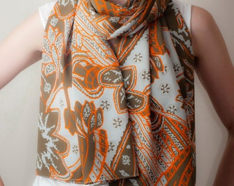 Tribal Boho Scarf Abstract Printed Scarf Taupe Orange Wrap Classic Tube Scarf Oversized Bow Scarf Shawl Womens Spring Fashion Accessories