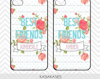 Personalize BFF / floral Polka Dot iPhone 4 Case Best Friends iPhone 5 Case iPhone 4S Case iPhone 5S Case One 4 Your BFF Personalized Name
