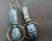 Ancient glass and Chinese enamels with sterling silver hoops