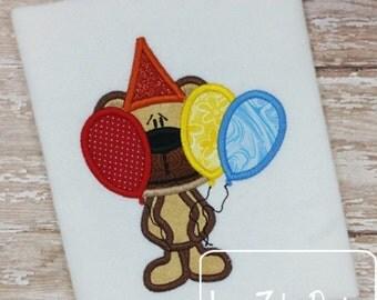 Bashful Birthday Bear with Balloons Appliqué Embroidery Design - birthday applique design