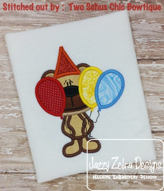 Bashful Birthday Bear with Balloons Appliqué Embroidery Design - birthday applique design