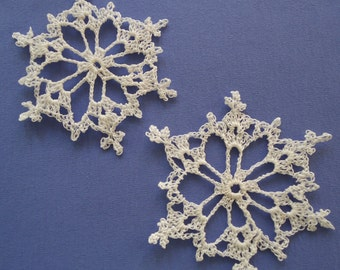 Frosted Lace Crochet Snowflake Christmas Ornament Set of Two