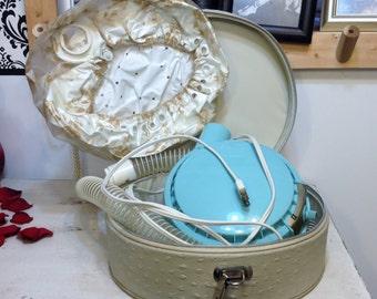 1950's Penncrest Hair Dryer w/ Carrying Case, Vintage Penneys Hair Dryer, Home Decor, Bathroom Decor, Vanity Hair Shop, Boudoir Photo, Prop