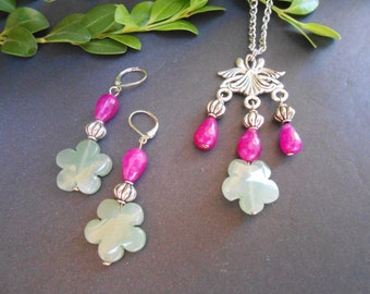 Purple agate and aventurine pendant and earrings Item No. MPEN0011