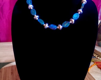 Natural Stone Necklace & Bracelet Set in Shades of Blue and Black