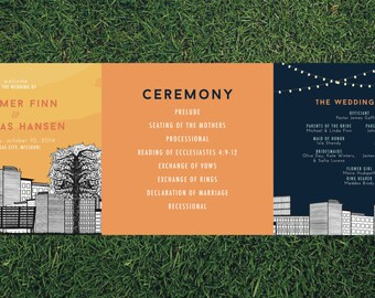 Skyline Wedding Program // DIY Tri-Fold Printable Program // Wedding Program, Day of Wedding, Wedding Stationery, Skyline Wedding