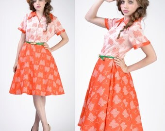 vintage 70s 50s BUTTERFLY Dress | Bright Orange Full Circle Skirt Boho Dress | M-L
