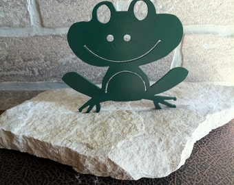 Metal Frog on Stone Room Decoration