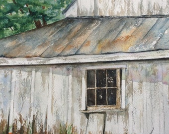 Old barn and new flowers, 8 5/8 x 12 5/8 inches unframed