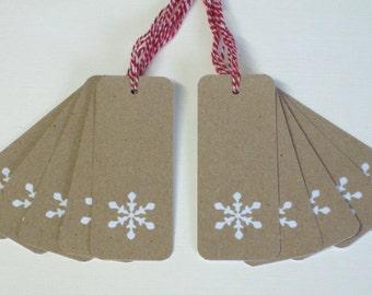 Christmas Gift Tags 10/Pk - Snowflake Gift Tags - Holiday Gift Tags - Gift Tags Recycled card