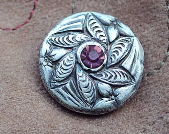 Handmade Silver Leaf Bead with Amithyst Crystal  Center