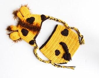 Baby Giraffe Hat and Diaper Cover Set, Newborn Baby Photo Prop, Baby Shower Gift.