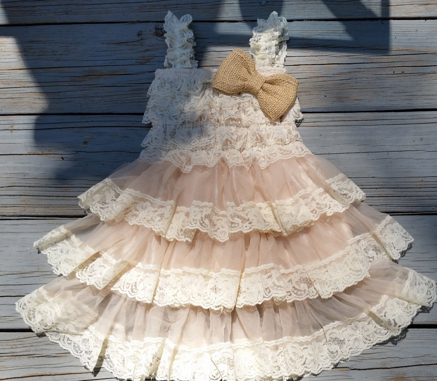 Country Flower Girl Dress Lace by CountryCoutureCo on Etsy