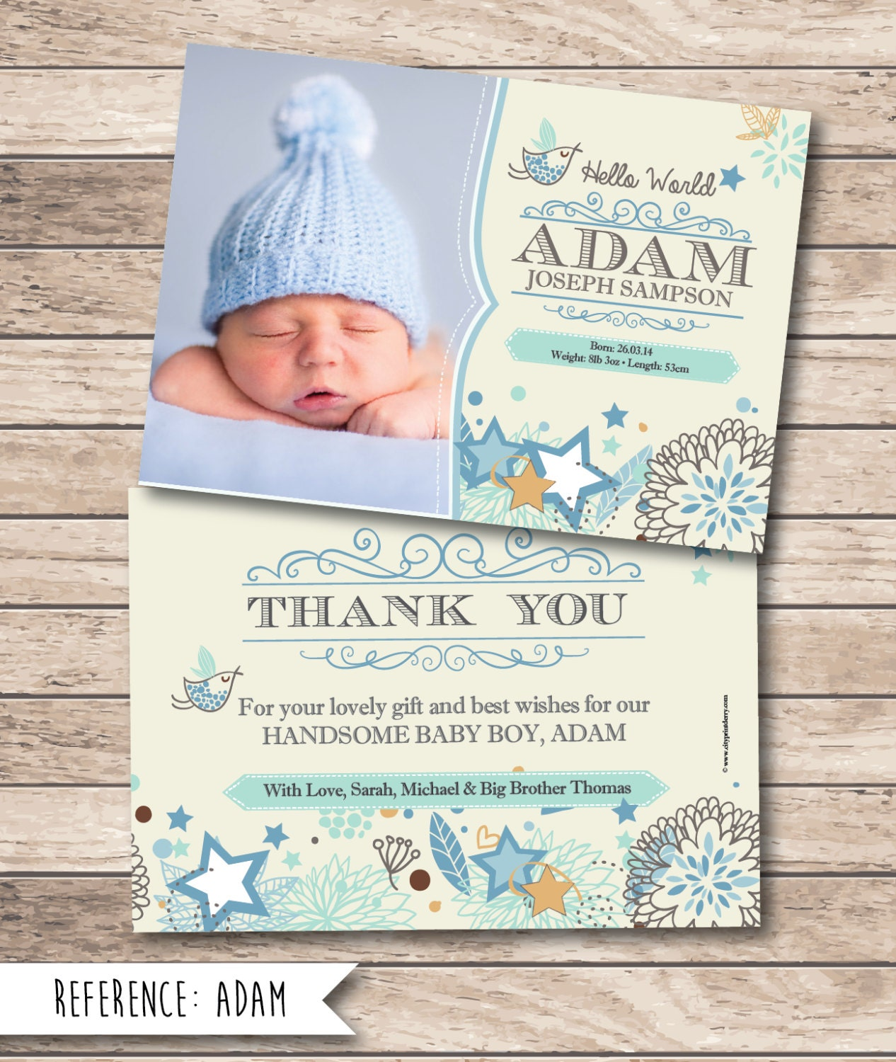 New Baby Gift Thank You Cards : Birth announcement baby thank you card printable file