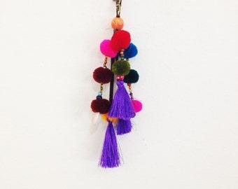 Colorful Pom Pom & Purple Tassel Clip Accessories Key Chain (KR02-PUR)