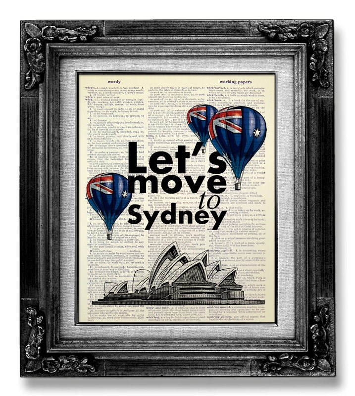Sydney Travel Quotes: Landscape Print OFFICE Art TYPOGRAPHY Poster Quote Poster