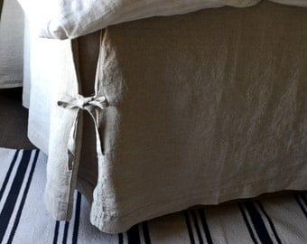 box pleated linen bedskirt with ties dust ruffle valance full double - Dust Ruffles