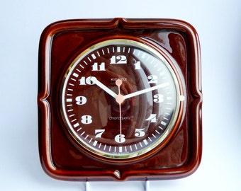Vintage Kienzle German Ceramic Kitchen Clock Dark