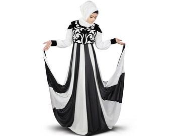 Mybatua Women's Designer Abaya, Velvet Patch Work Embroidery in Front, Occasion & Party Wear Long Maxi Dress, Islamic Women Clothing AY-359
