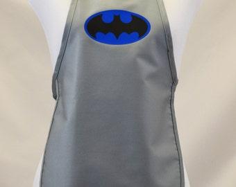 Child's Super Hero Batman Dress Up Costume Apron |Art Smock  Boy's or Girl's | Birthday Parties Grey