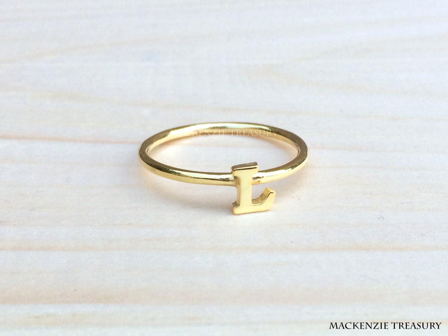 gold initial ring silver initial ring custom by