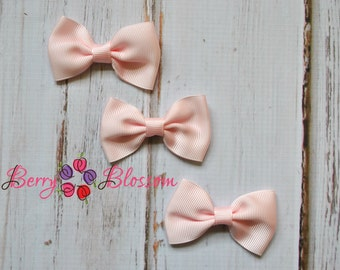 "Light Pink Tuxedo Bows 3pc - 2.5"" inch - hair accessory - bow appliques - grosgrain bows"