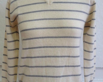 1980's Lambswool/Angora Blend Cream and Silver Grey Striped V-Neck Sweater