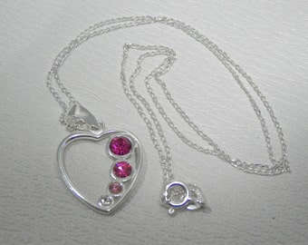 Sterling silver and Swarovski crystal heart pendant