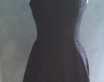 Black vintage dress, lace over lay, nipped waist, classic design LBD 1980 London look, size small