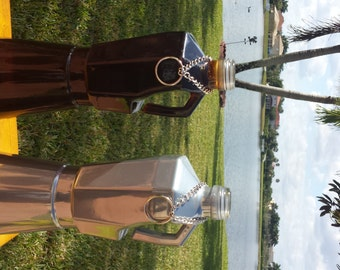 SALE: Espresso Maker Shaped Recycled Glass Bottle Incense Burner / Cappuccino Maker Shaped Glass / Incense Holder & Chain / Smoking Bottle