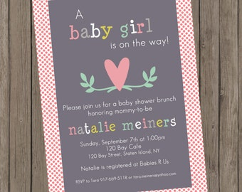 Printable Girl Baby Shower Invitation - Natalie Leafy