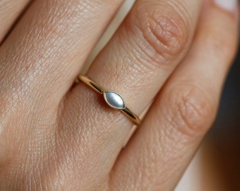pearl wedding ring pearl engagement ring tiny pearl ring marquise engagement ring - Pearl Wedding Ring