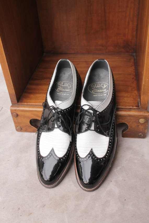 vintage black white patent leather wingtip shoe by