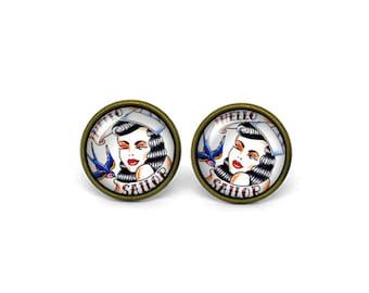 X214- Hello Sailor, Glass Dome Post Earrings, Stud Earrings, Post Earrings, Small Studs