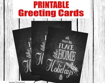 DIY Chalkboard Style Christmas Cards - instant download - Printable - No Place like Home for the Holiday - christmas cards  - print yourself