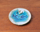 Wedding ring holder, Love ring dish engagement Wedding Decor Hand Made Pottery turquoise Fish Favor jewelry dish soap dish