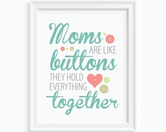 Art Print 'Moms Are Like Buttons' - Typographic Art - Mother's Day Gift - Greens